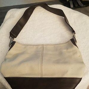 Tignanello Cream and Brown Pebble Handbag